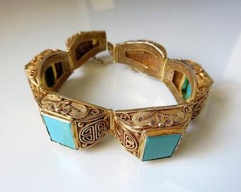Vintage Sterling Silver Filigree Turquoise Chinese Gold Gilt Hinged Bracelet Sho Symbol