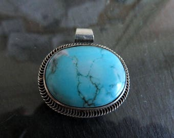 Vintage Egyptian Sterling Silver Turquoise Pendant