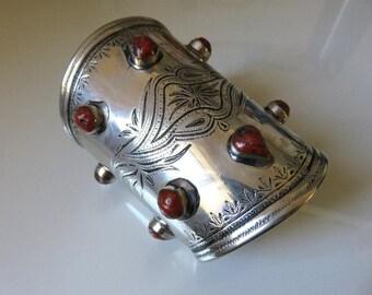 Vintage Huge High Grade Silver Carnelian Turkmen Yomud Tekke Ethnic Tribal Bangle Cuff Arm Band 120.6 grams