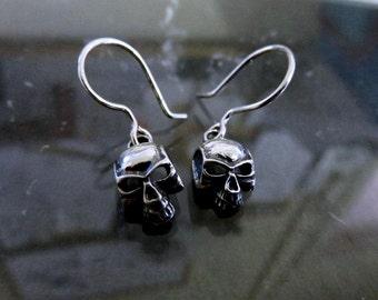 Sterling Silver Skull Drop Earrings