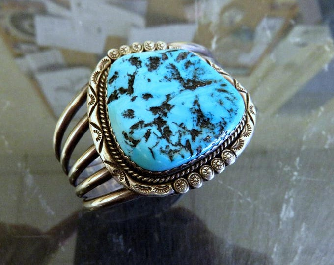 Featured listing image: Vintage Huge Sterling Silver Navajo Turquoise Bangle Cuff Old Pawn