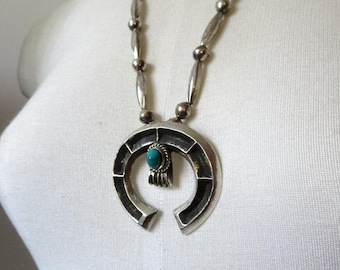 """Vintage Old Pawn Navajo Sterling Silver Turquoise Tufa Sandcast Naja Pendant Necklace 24"""" Length 58.7 grams"""