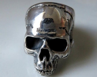 Large Heavy Solid Sterling Silver Skull Ring Anatomical Skull Ring Keith Richards