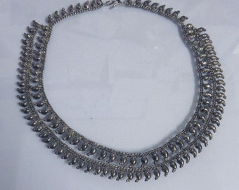 Vintage Silver Indian Statement Necklace Mid Century Rajasthan 800 Silver