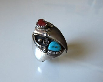 Vintage Navajo Sterling Silver Turquoise Coral faux Claw Ring Size Y (12)