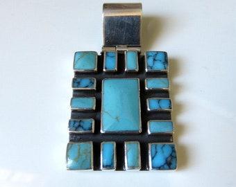 Vintage Huge Sterling Silver Tribal Navajo Silver Multi Set (15) Turquoise Pendant 26.5 grams