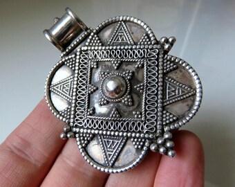 Vintage Huge Rajasthan Indian Silver Amulet Pendant 36 grams