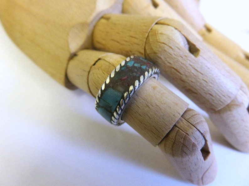 Vintage One Off Carved Crushed Turquoise Coral Ring Navajo Style Sterling Silver Size L 6