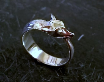 Solid Sterling Silver Fox Ring