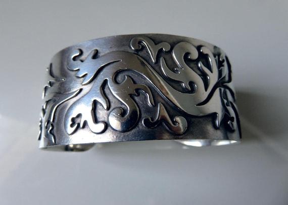 Vintage Huge Sterling Silver Floral Overlay Bangle