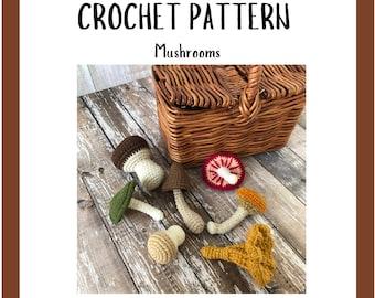 MUSHROOMS Crochet Pattern - Crochet Vegetables Pattern - Amigurumi Pattern