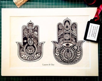 Personalized Art Wedding Gift with names and date, hamsa hands