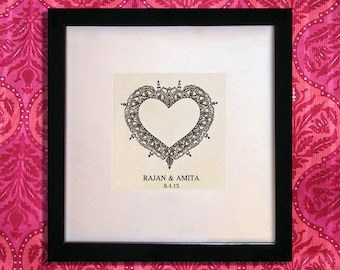 Personalised Indian Wedding Gift with names and date