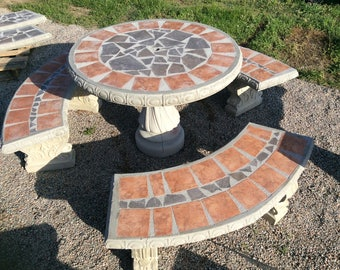 Patio Table Set, Outdoor Furniture, Table Set, Round Concrete Table Set,  Tile Inlay Complete With 3 Benches, Benches   Outdoor Living