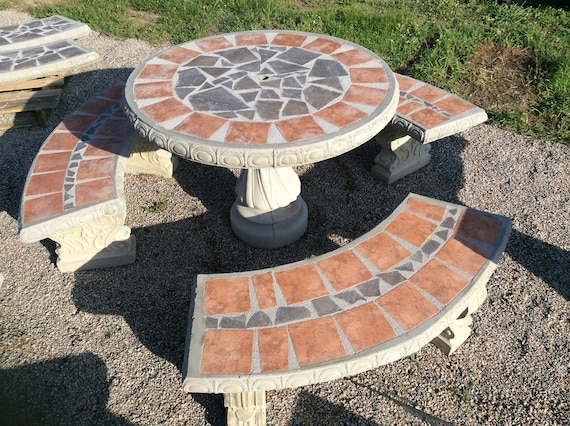 Astounding Patio Table Set Outdoor Table Bench Set Picnic Table Concrete Table Set With 3 Benches Outdoor Furniture Set Outdoor Patio Set Mosaic Inzonedesignstudio Interior Chair Design Inzonedesignstudiocom