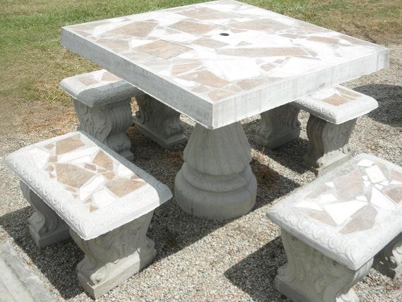 Astonishing 36 Square Table Set With 4 Benches Concrete Patio Table Set Outdoor Table Set Outdoor Furniture Mosaic Table Set Patio Set Inzonedesignstudio Interior Chair Design Inzonedesignstudiocom