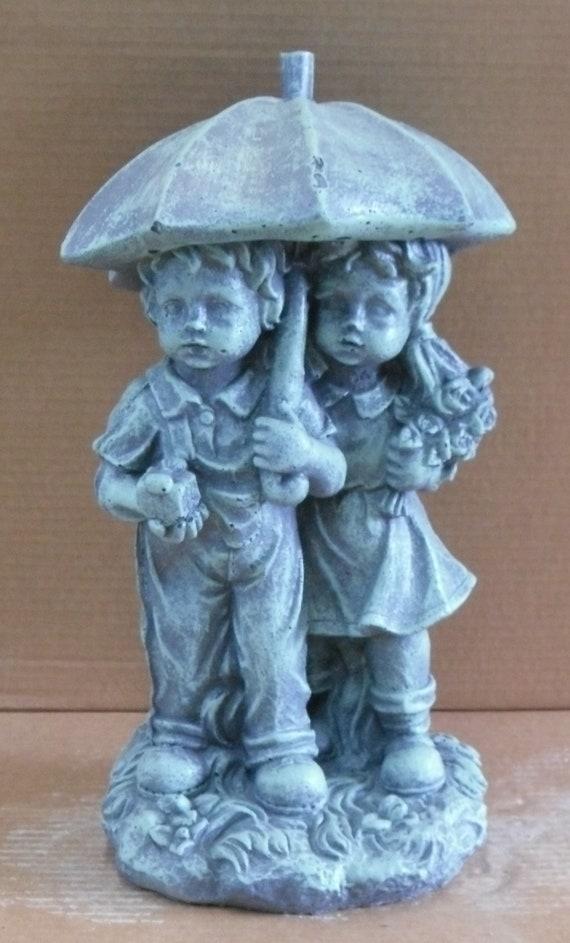 Umbrella Kids Statue Concrete Statue Garden Statue | Etsy