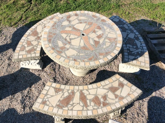 Fine Patio Set Patio Table Outdoor Tables Mosiac Table Palm Tree 42 Round Concrete Table With Benches Outdoor Patio Table Free Shipping Spiritservingveterans Wood Chair Design Ideas Spiritservingveteransorg