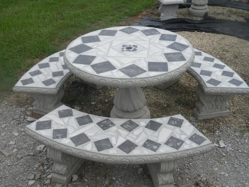 Cement Patio Table Set   Outdoor Tables   Patio Table Set   Mosaic Tables    Outdoor Furniture   Patio Decor   Patio Table   Concrete Tables