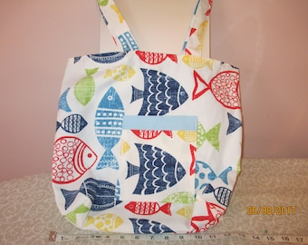Fish Tote Bag with Pockets and Magnetic Snap
