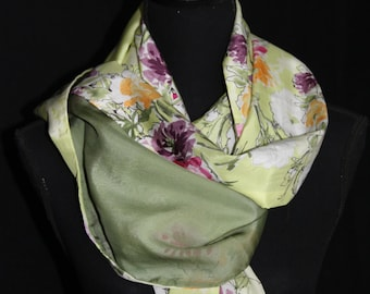 Soft & light, double sided pure silk muslin scarf in green shades and warm coloured floral pattern