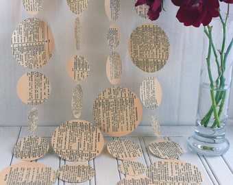 Vintage Dictionary Paper Garland 3m or 6m