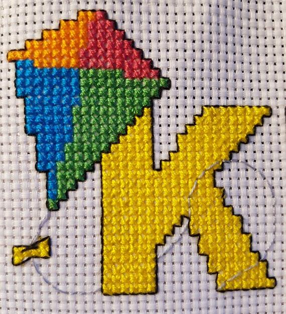 5x5 cm E is For.. Egg Mini Alphabet Cross Stitch Kit with DMC Thread