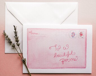 To a beautiful person, A6 Greeting Card, Birthday Card, Letter