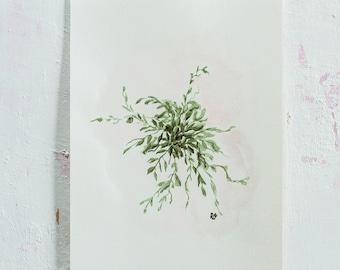 Romantic green, Din A5, Original Watercolor Painting