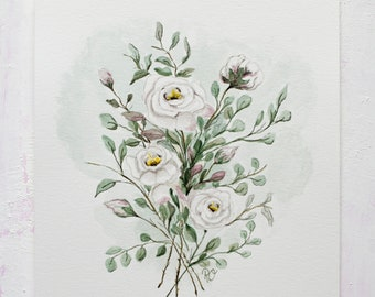 Morning Roses, Watercolor painting, Original, Aquarell, Roses, Watercolor flowers