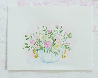 Afternoon tea, still life, watercolor art, Aquarell Bouquet, watercolor flowers, wall art, home decor, vintage painting