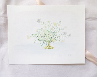 Floral Bouquet Painting, Original Flower Painting, Watercolor Flowers