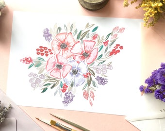 Flower print, Wallstyle, flower, watercolor flower, watercolor painting, home decor