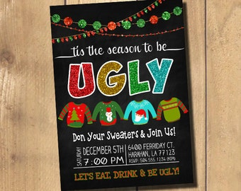 Ugly Sweater Invitation, Ugly Sweater Party Invitation, Ugly Christmas Sweater Invitation, Ugly Christmas Sweater Party, Digital Printable
