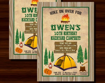 Camping Invitation, Camping Party Invitation, Camping Birthday Invitation, Camp Out Invitation, Digital Printable Invitation