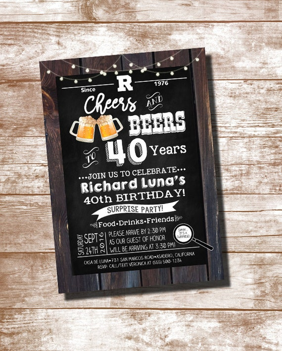 40th birthday party invitation cheers and beers to 40 years etsy image 0 filmwisefo