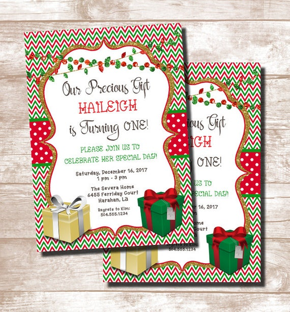 christmas birthday invitations christmas gift birthday etsy