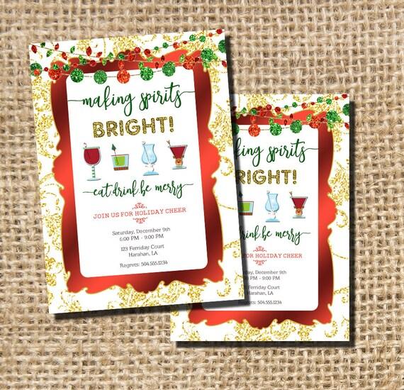 holiday party invitation holiday cocktail party invitation etsy