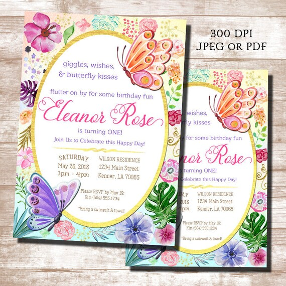 Butterfly Birthday Invitations First 1st Digital Printable Invitation