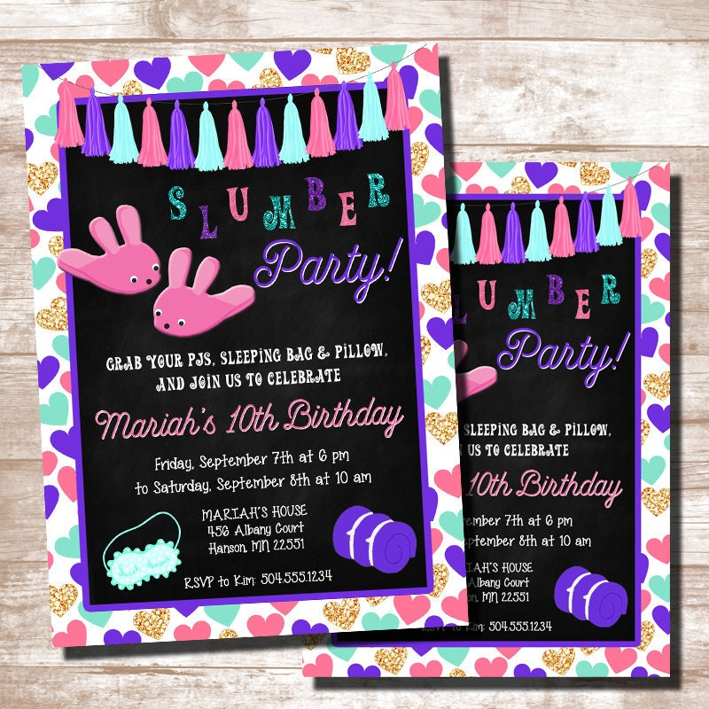 Slumber Party Invitations Birthday
