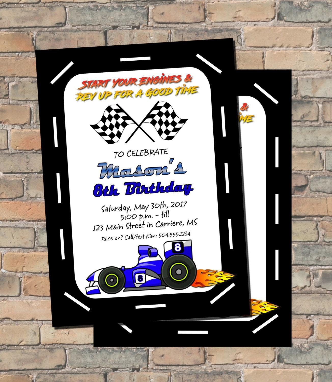 Racing Invitation Racing Birthday Invitation Race Car | Etsy