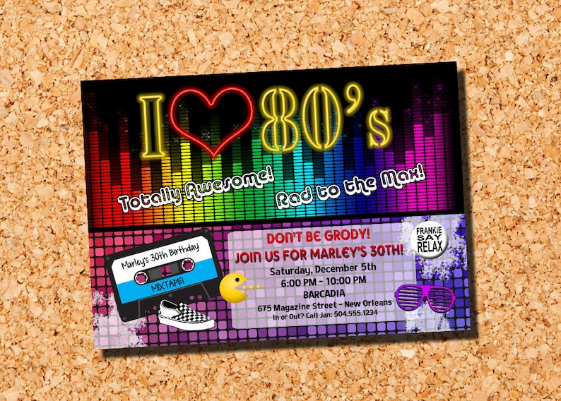 1980s Invitation 80s Birthday Theme Party Digital Printable