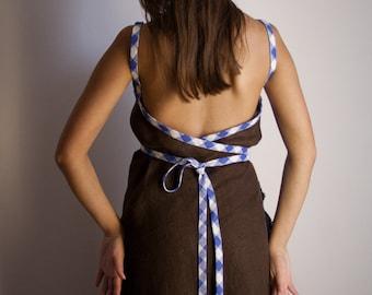Linen wrap dress, flax wrap dress with open back, maxi dress