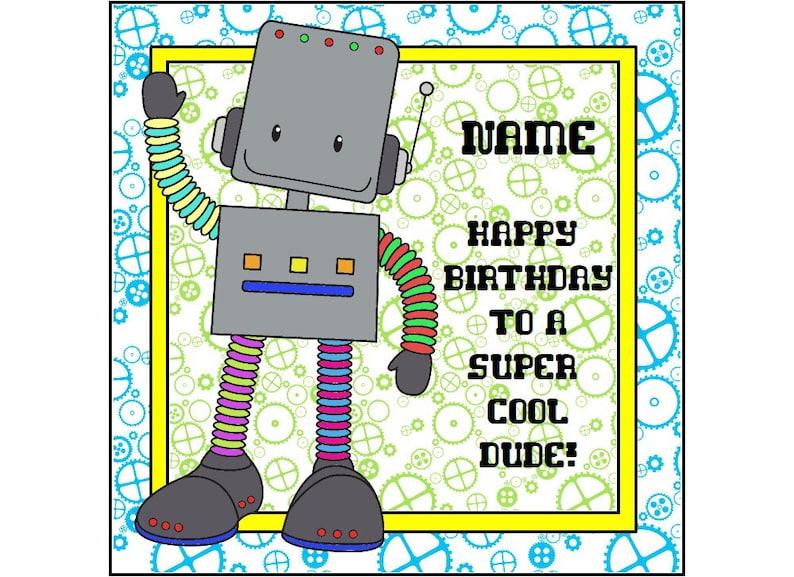 Kartka Urodzinowa Robota Spersonalizowane Karty życzenia Etsy