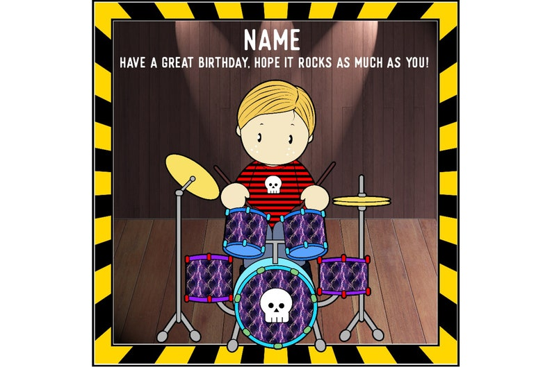Drummer Birthday Card Personalised Musical