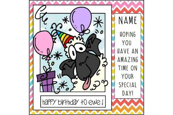 Funny Sheep Birthday Card Birthday Greetings Cute Birthday