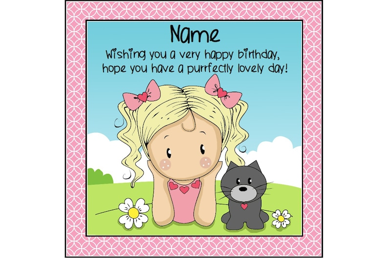 Girl And Cat Birthday Card Greetings Cute