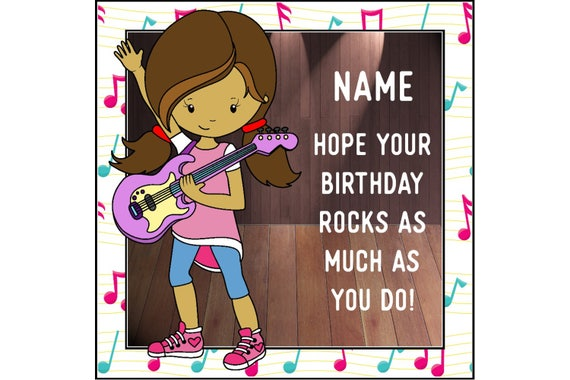 Rock Girl Birthday Card Personalised Musical