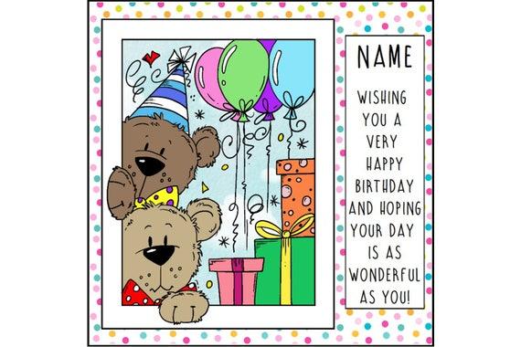 Teddy Birthday Card Birthday Greetings Cute Birthday Card Etsy