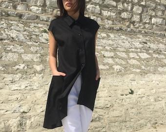 2287cf9a Long Black Shirt, Sleeveless Top, Asymmetric Top, High Low Top, Black  Tunic, Black Cotton Shirt, Summer Tunic Top, Maxi Top